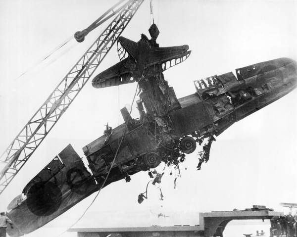 Bomber Photograph - Pearl Harbor Plane Salvaged by Underwood Archives