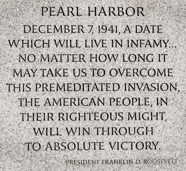 Pearl Harbor Speech - Franklin Delano Roosevelt Art Print