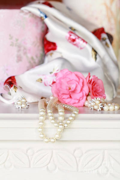 Chest Of Drawers Photograph - Pearls And Flowers by Stephanie Frey