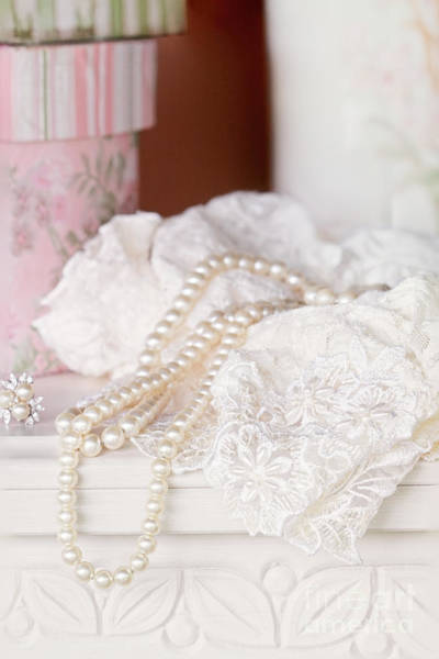 Chest Of Drawers Photograph - Pearls And Lacy Lingerie by Stephanie Frey
