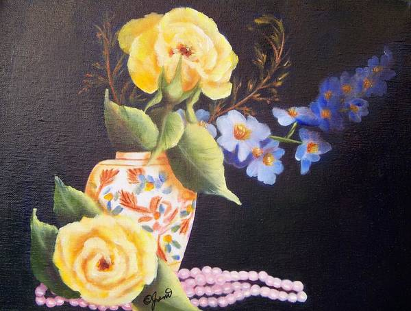 Painting - Pearls And Roses by Joni McPherson