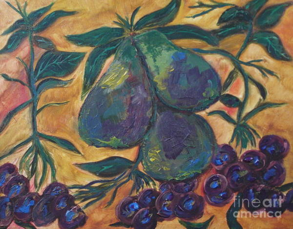 Painting - Pears And Grapes by Shelley Jones