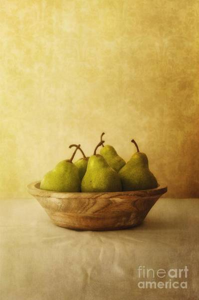 Natural Light Photograph - Pears In A Wooden Bowl by Priska Wettstein