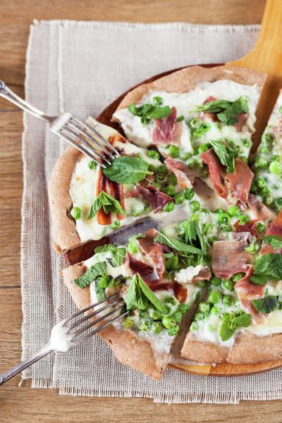 Pizza Photograph - Peas And Prosciutto Pizza by Alena Kogotkova