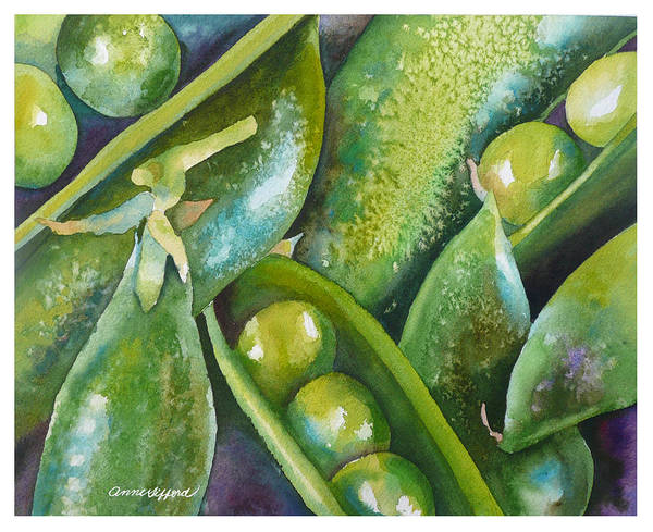 Pod Wall Art - Painting - Peas In A Pod by Anne Gifford
