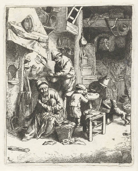 Simple Life Drawing - Peasant Family In Interior, Print Maker Abraham Bloteling by Abraham Bloteling And Adriaen Van Ostade