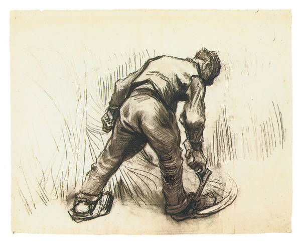 Sickle Painting - Peasant With Sickle Seen From Behind by Vincent Van Gogh
