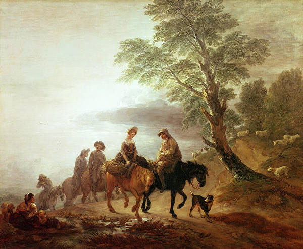 Crt Painting - Peasants Going To Market Early Morning by Thomas Gainsborough