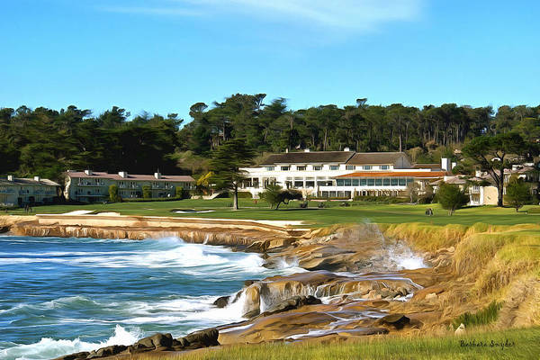 Wave Breaking Painting - Pebble Beach Club House by Barbara Snyder
