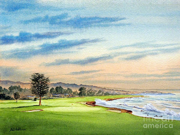 West Bay Painting - Pebble Beach Golf Course 18th Hole by Bill Holkham