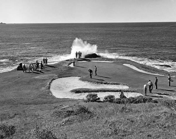 Pebble Beach Golf Course Photograph - Pebble Beach Golf Course by Underwood Archives