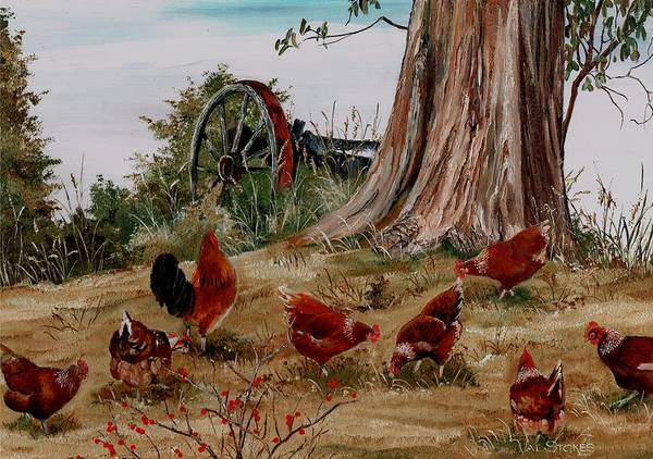 Painting - Pecking Around by Val Stokes