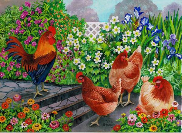 Painting - Pecking Order by Val Stokes