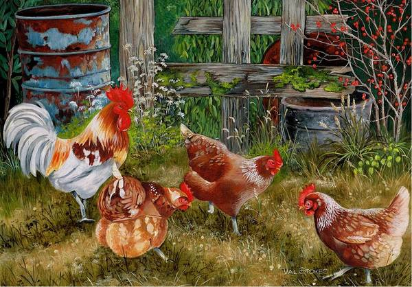 Painting - Pecking Party by Val Stokes