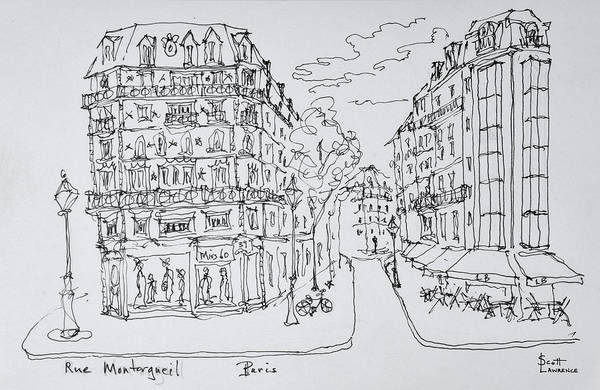 Ink Sketch Photograph - Pedestrian Only Shopping Street, Rue by Richard Lawrence