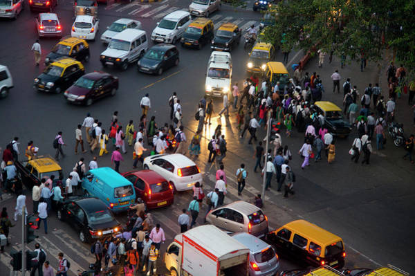 Rush Hour Photograph - Pedestrians At Rush Hour, Mumbai by Shanna Baker
