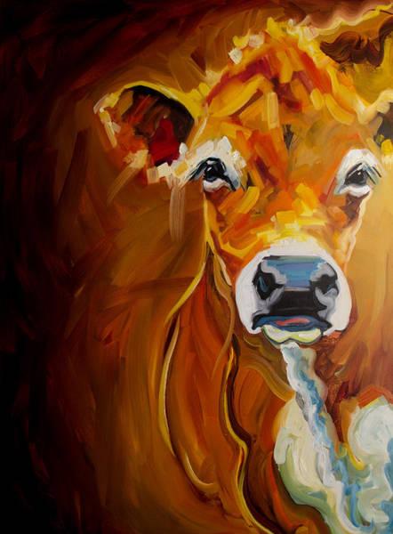 Wall Art - Painting - Peek Cow by Diane Whitehead