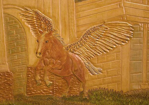 Palomino Horse Mixed Media - Pegasus - Detail by James McGarry Leather Artist