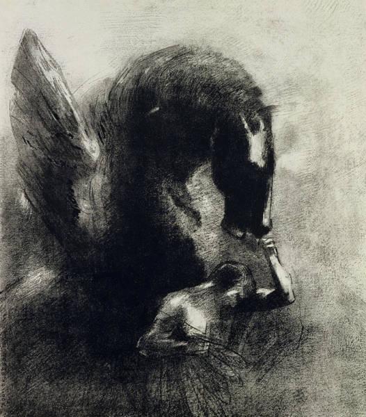 Mythological Photograph - Pegasus Engraving by Odilon Redon