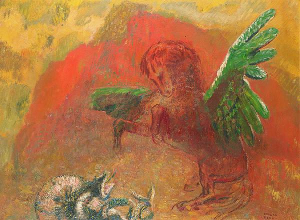 Serpent Photograph - Pegasus Triumphant by Odilon Redon