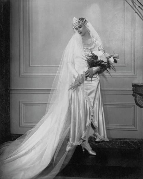 Headdress Photograph - Peggy Fish Wearing A Wedding Dress by Edward Steichen