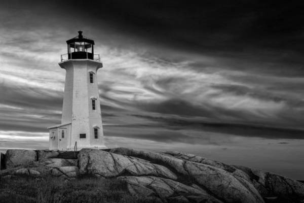 Photograph - Peggys Cove Lighthouse In Nova Scotia In Black And White by Randall Nyhof