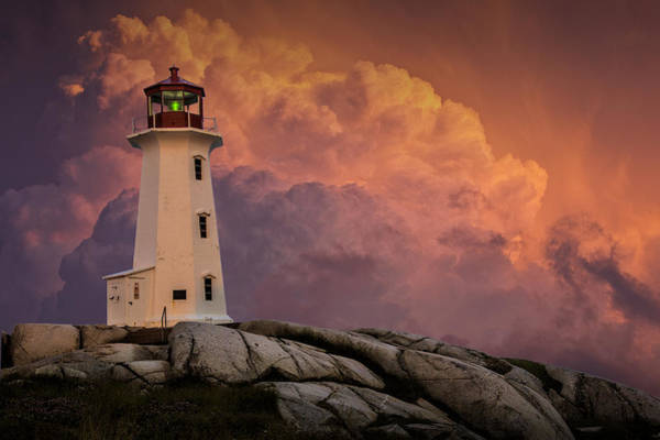Photograph - Peggys Cove Lighthouse In Nova Scotia With Red Stormy Sky by Randall Nyhof
