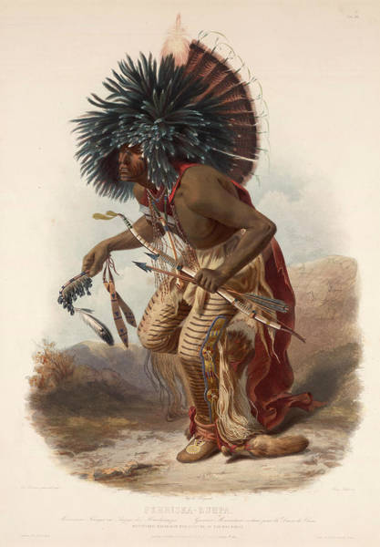 Hair Of The Dog Wall Art - Drawing - Pehriska Ruppa In The Costume Of The Dog-band by Karl Bodmer