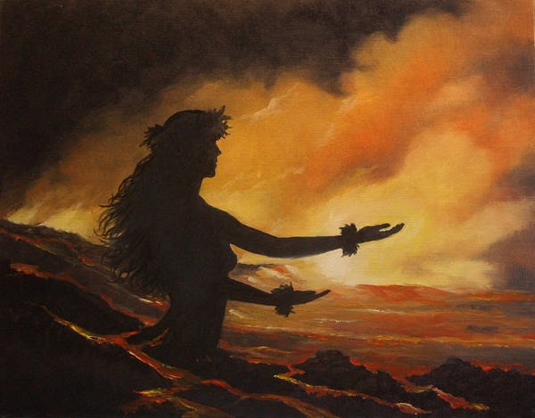 Hawaii Wall Art - Painting - Pele Rejoicing by Wallace Kong