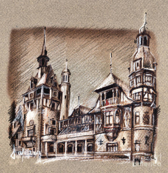 Peles Castle Romania Drawing Art Print