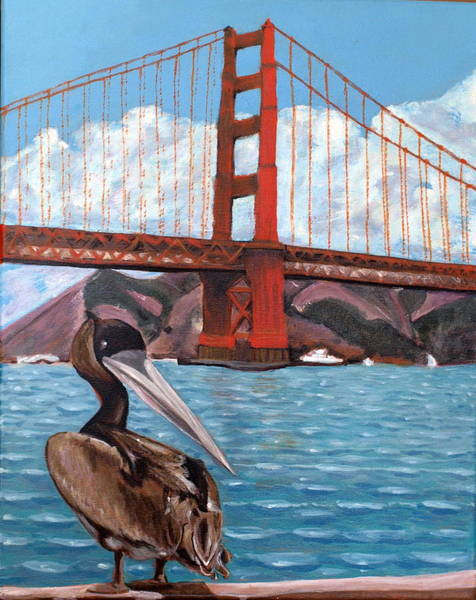Wall Art - Painting - Pelican  And Bridge by Vera Lysenko