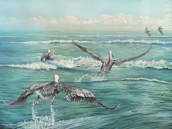 Coastal Digital Art - Pelican Beach by Bruce Nawrocke