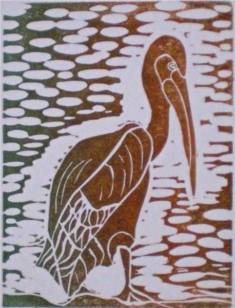 Linoleum Mixed Media - Pelican by Corinne Didisheim