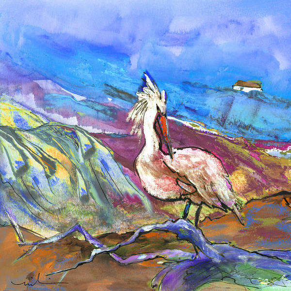 Painting - Pelican From The Dombes In France 02 by Miki De Goodaboom