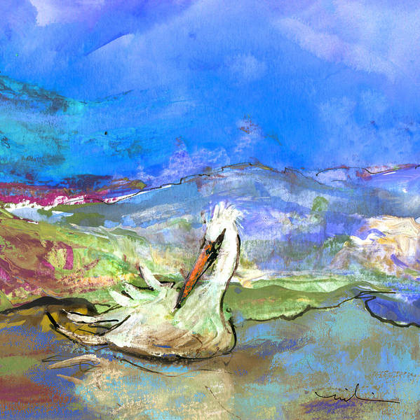 Painting - Pelican From The Dombes In France 01 by Miki De Goodaboom