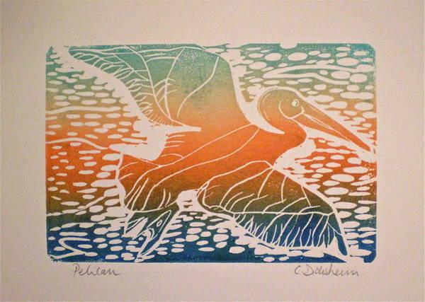 Linoleum Mixed Media - Pelican In Flight by Corinne Didisheim