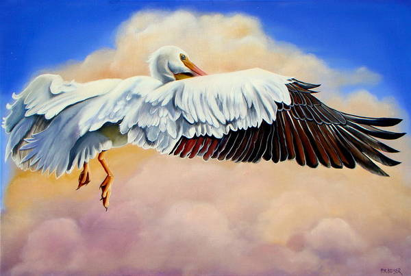 Wall Art - Painting - Pelican In The Clouds by Phyllis Beiser