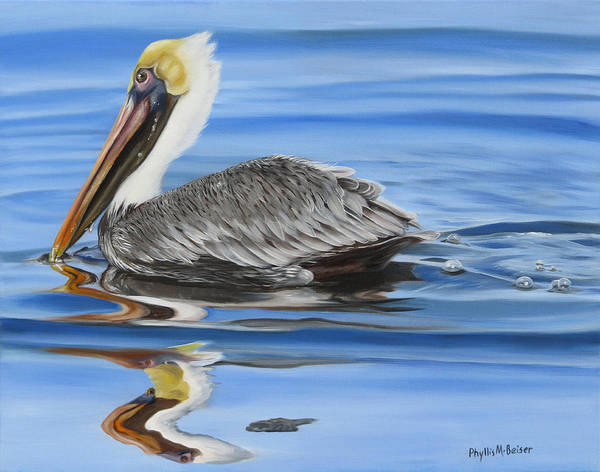 Wall Art - Painting - Pelican Ripples by Phyllis Beiser
