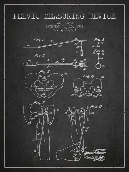 Pregnancy Digital Art - Pelvic Measuring Device Patent From 1963 - Charcoal by Aged Pixel