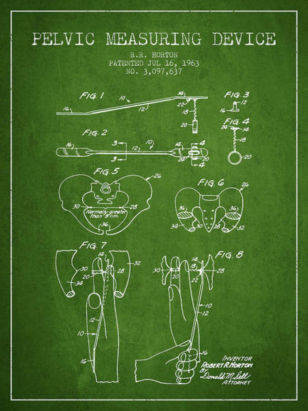 Pregnancy Digital Art - Pelvic Measuring Device Patent From 1963 - Green by Aged Pixel