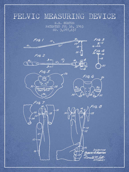 Pregnancy Digital Art - Pelvic Measuring Device Patent From 1963 - Light Blue by Aged Pixel