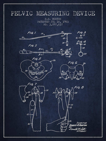 Pregnancy Digital Art - Pelvic Measuring Device Patent From 1963 - Navy Blue by Aged Pixel