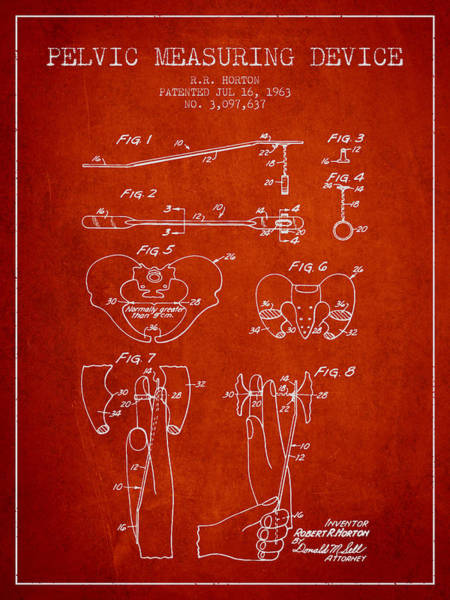 Pregnancy Digital Art - Pelvic Measuring Device Patent From 1963 - Red by Aged Pixel