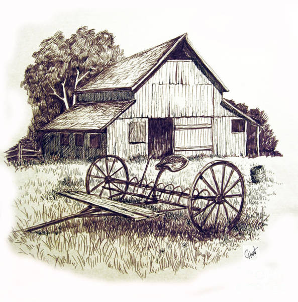Farm Equipment Drawing - Pen And Ink 8 by Carol Hart