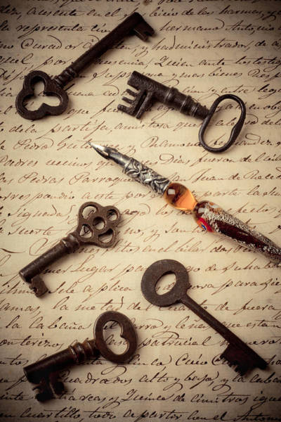 Ink Pen Photograph - Pen With Keys by Garry Gay