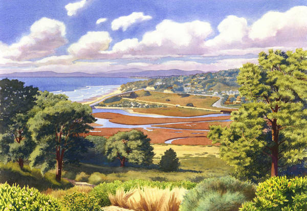 Wall Art - Painting - Penasquitos Lagoon With Clouds by Mary Helmreich
