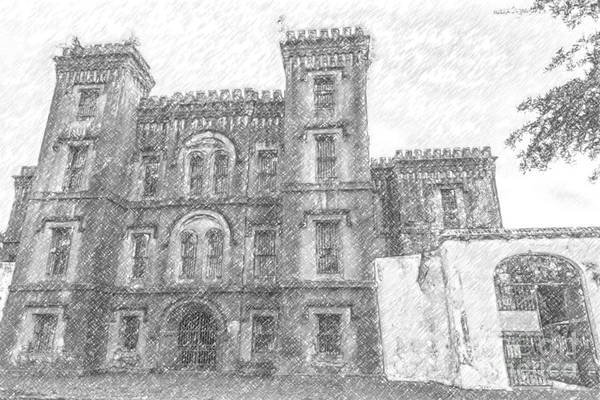 Drawing - Pencil Drawing Of Old Jail by Dale Powell