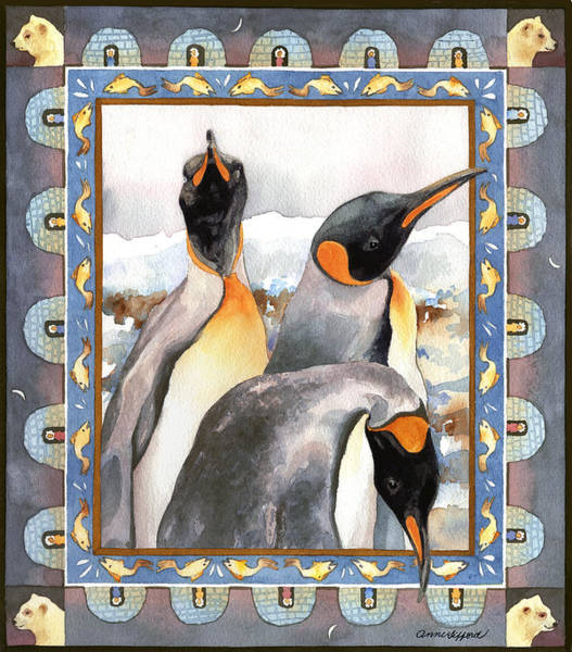 Wall Art - Painting - Penguin Family Portrait by Anne Gifford