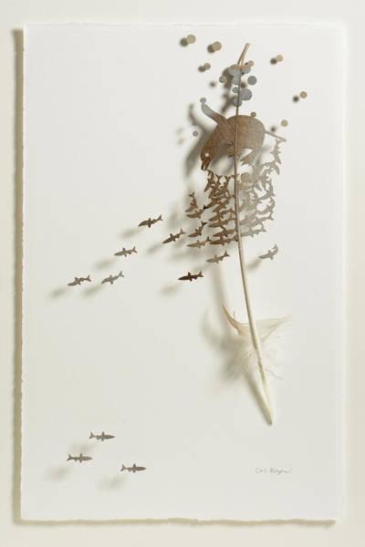 Wall Art - Mixed Media - Penguin Swim by Chris Maynard