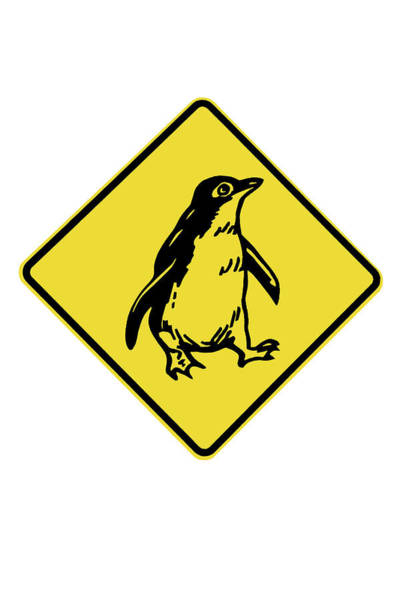 Cutout Wall Art - Photograph - Penguin Warning Sign, Australia by David Wall